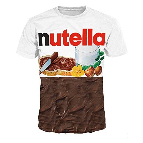 Price comparison product image Homemaple Unisex 3D Print Casual Short Sleeve T-Shirt Fashion Couple Tees (S, Nutella)