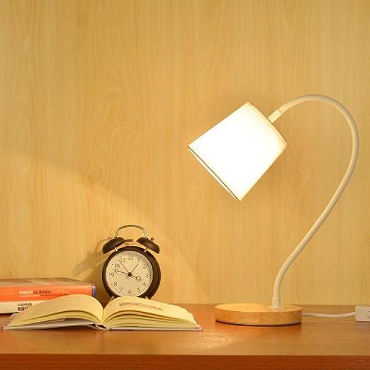 Lámpara de mesa de madera nórdica negra Lámpara de mesita de noche ...