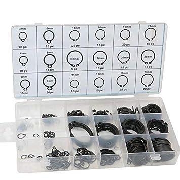 100stk Sicherungsring Sortiment Kit C-ClipSicherungsringe Sprengring Haltering