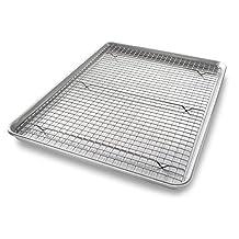 USA Pans USA Pan Bakeware Extra Large Sheet Baking Pan and Bakeable Nonstick Cooling Rack Set