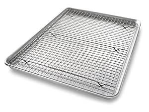 USA Pan 1607CR-1 Bakeware Extra Large Sheet Baking Pan and Bakeable Nonstick Cooling Rack Set, XL, Metal