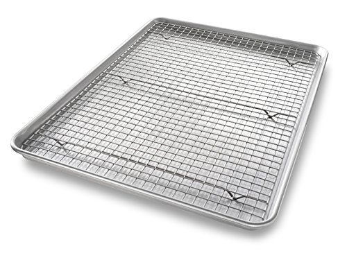 - USA Pan 1607CR Bakeware Extra Large Sheet Baking Pan and Bakeable Nonstick Cooling Rack Set, XL, Metal