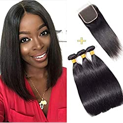 """10A Human Hair Bundles With Closure Unprocessed Virgin Brazilian Straight Hair With Closure Weave Hair Human 3 Bundles With Closure Natural Color(8"""" 10"""" 12""""+8"""")"""
