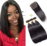 10A Human Hair Bundles With Closure Unprocessed Virgin Brazilian Straight Hair With Closure Weave Hair Human 3 Bundles With Closure Natural Color(8