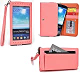 Smartphone Wristlet fits Blu Studio 5.0 S D560 : Exposed Screen to View Alerts [Salmon Pink / Clay Orange]