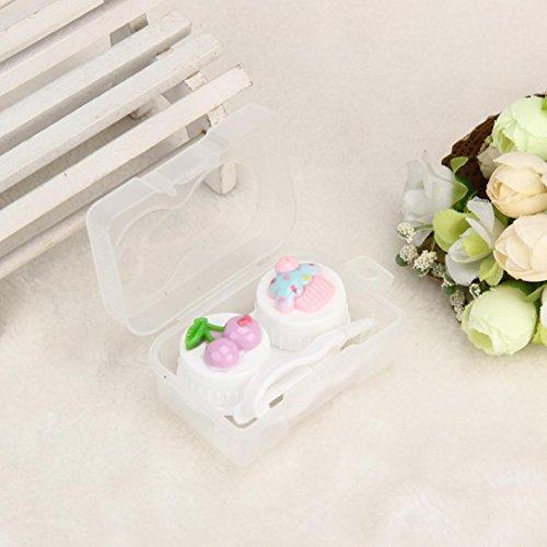 (DZT1968 Cute Cherry dessert Shape Travel Portable Contact Lens Lenses Container Case 6x 4x2.5cm (White))