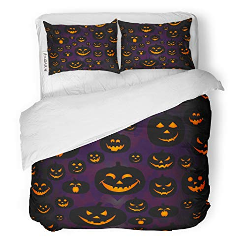 Tarolo Bedding Duvet Cover Set Orange Autumn Abstract Pumpkin Pattern for Girls Boy Kids Halloween Creative Scary Face Smile Funny and Black 3 Piece Queen 90