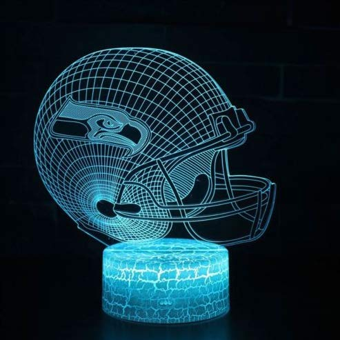 Football Helmet Light - Touch Control Football Team Light Lamp- 7 Color Changing Touch Light Lit Base - Night Light for Boys Men Women for Football Sports Lovers (Seattle Seahawks) ()