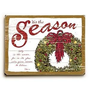 Christmas tis the season 18 x24 planked wood for Christmas wall art amazon