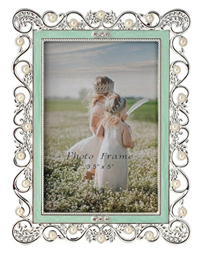 L&T Ornate Metal Picture Frame Silver Plated with Enamelled and Jeweled 3.5 x 5 Inch (Mint green)