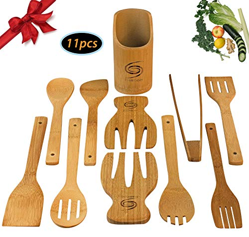 Bamboo Cooking Utensil set includes 11 piece Organic serving utensils with Salad tongs Reusable Eco-friendly non-scratch Perfectly completes any Kitchen - Grand Sierra Designs Eco Friendly Bamboo Kitchen