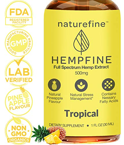 Hemp Oil for Anxiety & Pain Relief - Premium Stress Relief, Anti-Inflammatory & Joint Support, Perfectly Balanced Essential Fatty Acids, Full Spectrum Hemp Oil, Omega 3 & 6, (Organic Pineapple)