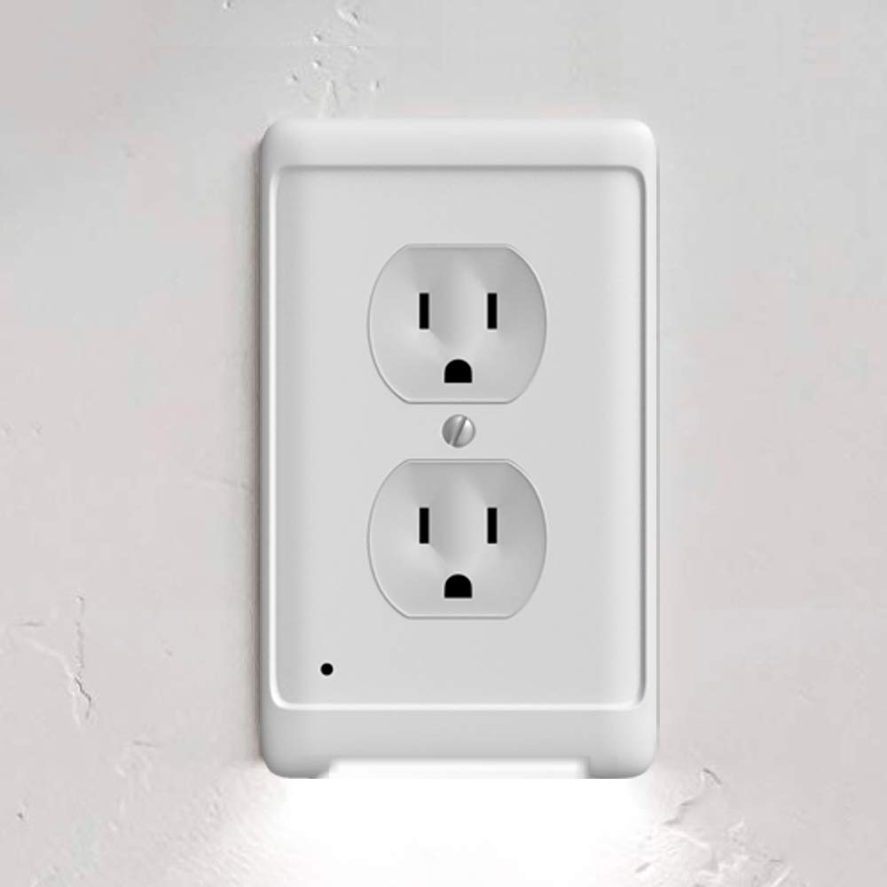 Aodigesa Outlet Wall Plate with LED Night Lights, Auto sensor light Outlet Cover,Night Light for Kids Children,Hallway,Bedroom,Kitchen,Stairs,Installs In Seconds,No Batteries or Wires (Duplex, White)
