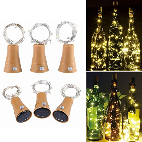 (6 Pack Warm White Solar Powered Wine Bottle Lights with Cork, 10 LED Bottle Cork String Lights Fairy Mini Copper Wire, Solar Lights for DIY Christmas Halloween Wedding Party Indoor)