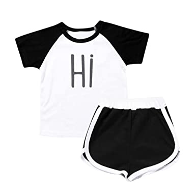 6ad58b035 DaySeventh Toddler Kids Boys Girls Cute T Shirt Tops+Active Shorts Outfit  Clothes Set (