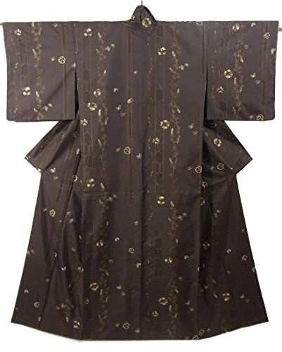 そんなに好ましい非公式リサイクル 着物 付下小紋 刺繍 蝶に萩 正絹 袷 秋草の意匠 裄67cm 身丈162cm
