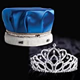 Blue Satin Crown Royalty Set, Blue Satin Crown with Silver Band, White Fur and 2 7/8 inch High Mirabella Tiara