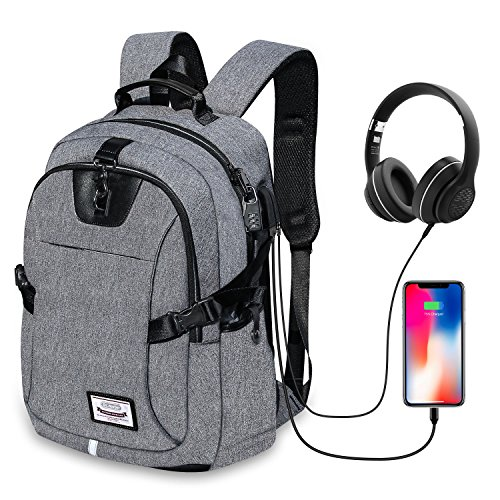 Dr.meter Business Laptop Backpack, Anti Theft Waterproof Travel Laptop Backpack with USB Charging Port & Headphone interface for College Travel Backpack designed for 17-inch Notebook, Grey