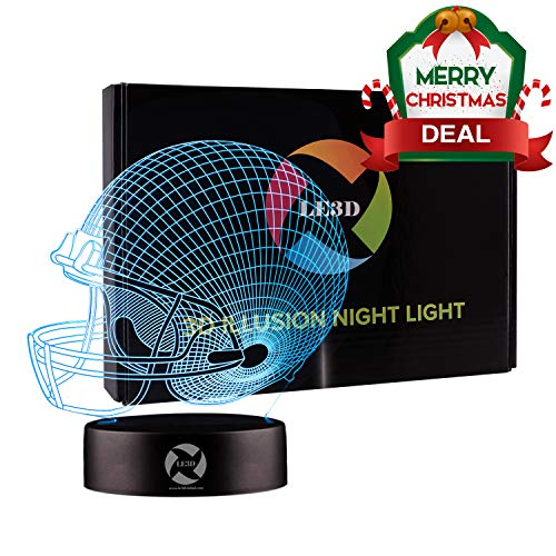 3D Optical Illusion Night Light - 7 LED Color Changing Lamp - Cool Soft Light Safe For Kids - Solution For Nightmares - Football NFL Helmet -