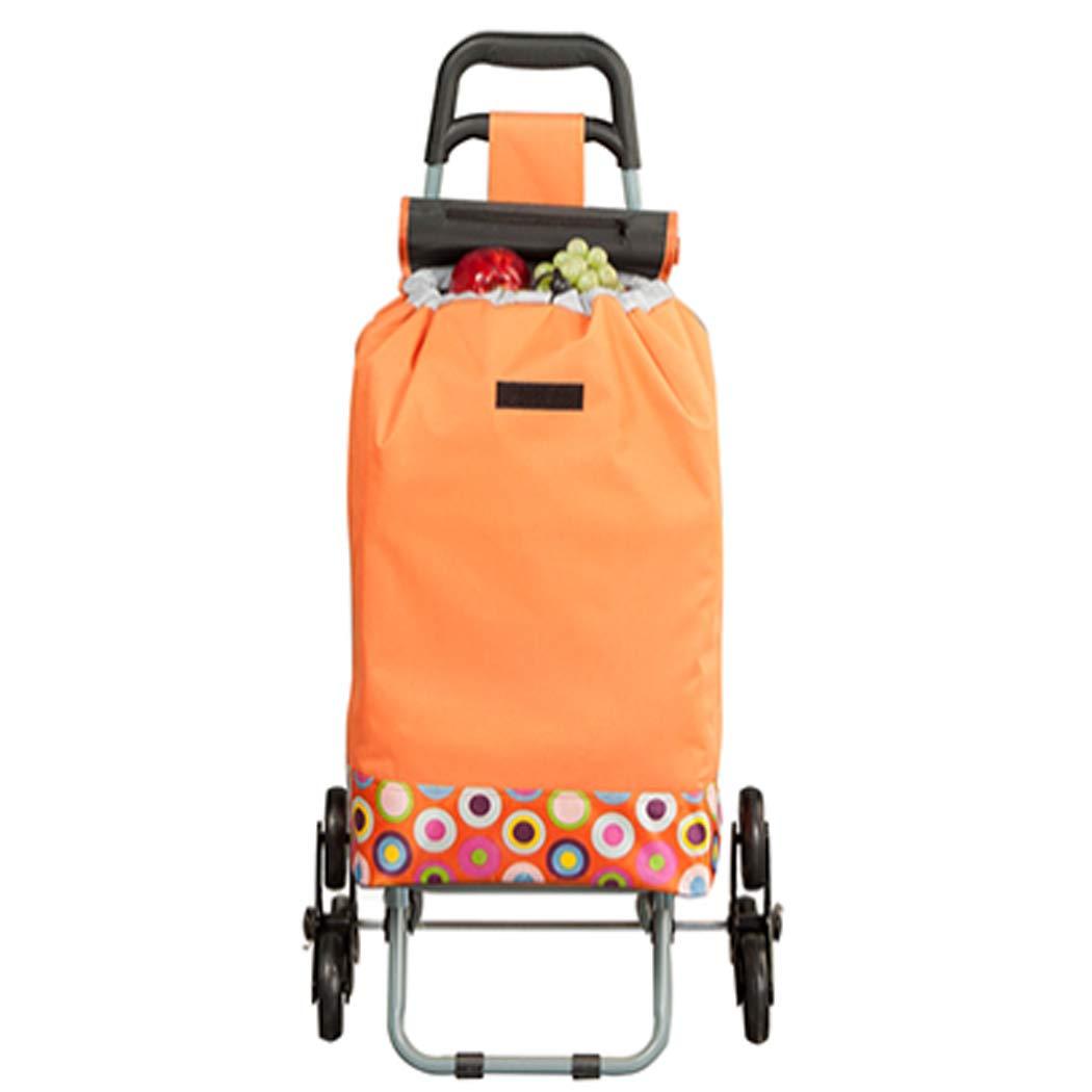 YGUOZ 大 折りたたみ ショッピングカート、6 輪、軽量 ショッピングキャリーカート、2の1 ショッピングキャリー(43L),orange  orange B07MXBG2LG