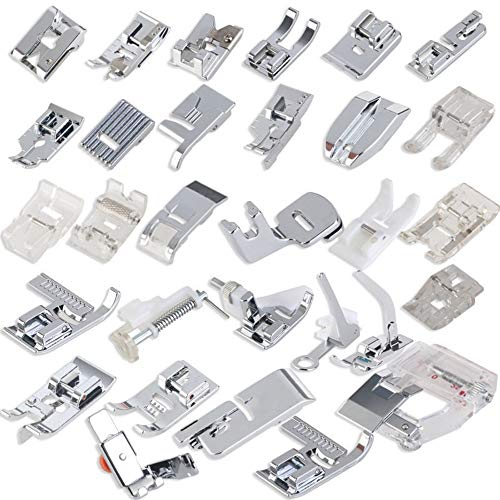 32pcs/Set Domestic Sewing Machine Accessory Presser Foot Feet for Compatible All Brand - Sewing Buttonholer Machine Attachment