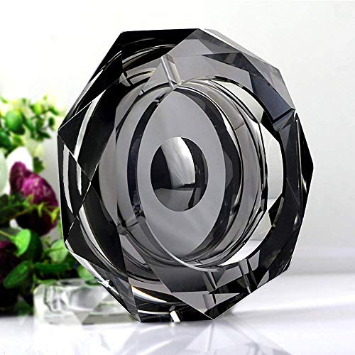 (Amlong Crystal Octagon Black Large Crystal Ashtray 6 Inch (150mm) for Cigarettes or Cigars with Gift Box)