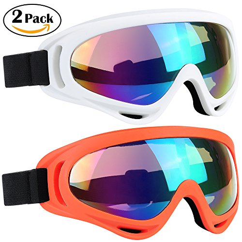Ski Goggles 2 Packs, Multicolor Lenses Snow Goggles with Wind Dust UV 400 Protection for Women Men Kids Girls Boys Winter Snowboard Snowmobile Skiing Skate Motorcycle Bicycle Riding (White/Orange)