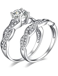 1.5ct Infinity Cubic Zirconia Anniversary Promise Wedding Band Engagement Ring Bridal Sets 925 Sterling Silver