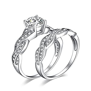 JewelryPalace Wedding Bands Engagement Rings for Women, 14K Gold Plated 925 Sterling Silver Cubic Zirconia Promise Rings…