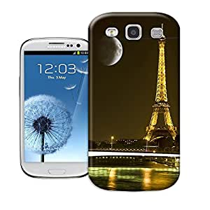 Hard Plastic Samsung Galaxy S3 Case, Fate Inn-Moon over the Paris tower-Samsung Galaxy S3 case