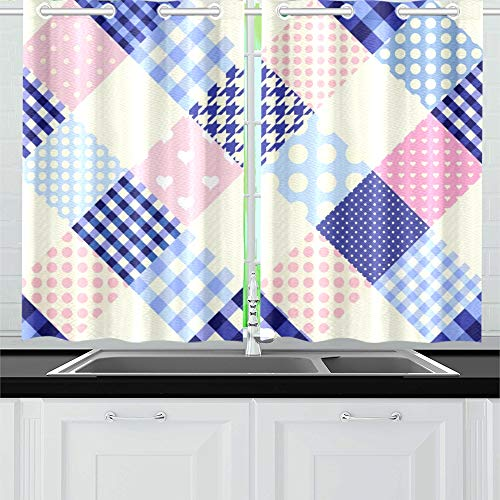 YUMOING Diagonal Plaid Tartan Kitchen Curtains Window Curtain Tiers for Café, Bath, Laundry, Living Room Bedroom 26 X 39 Inch 2 Pieces