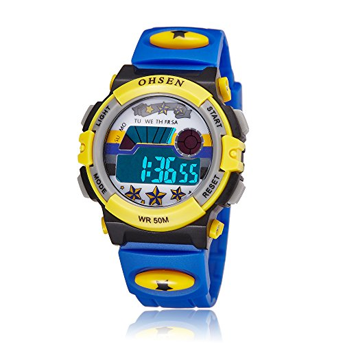 ZEIGER Kinderuhr Digital Sportuhr Datum Alarm Chronograph Armbanduhr Blau Jungenuhr KW062