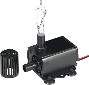 Sietore DC 12V Mini Brushless Water Pump Water Cooling Pump for Fountain Pool Garden (Black)