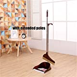 Broom Set Soft Bristle,Broom And Dustpan EXTRA LONG 38 inches 47 inches handle-Dust And Brush Upright,Lies Tightly On Floor-Commercial Dustpan And Brush for Home, Lobby, Shop,Schools,Hotel,Bars