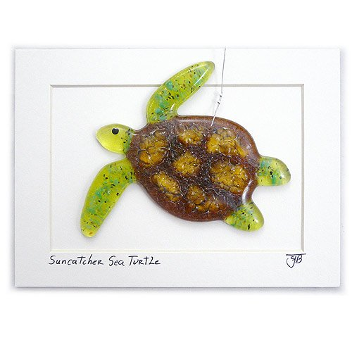 Modern Artisans Sea Turtle Fused Glass Sun Catcher, Handmade in USA by Modern Artisans (Image #1)