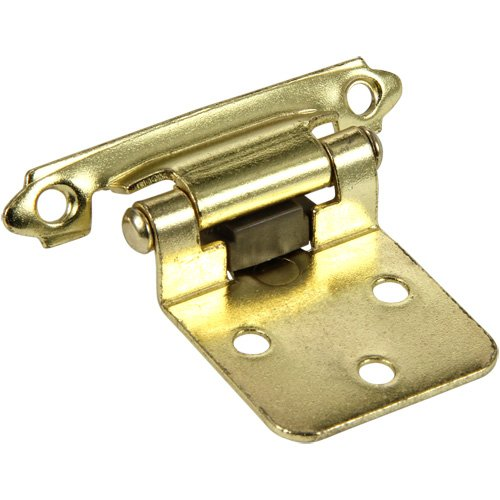 Silverline SH5001-PB Self Close Face Frame Hinge Cabinet Hardware 10 Pairs Face Mount Overlay Variable Polished Brass
