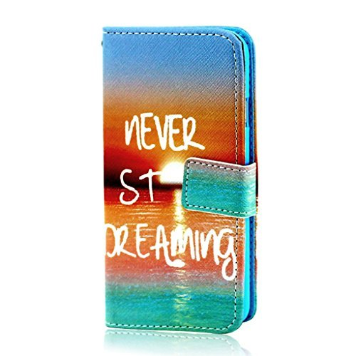 Inspiring Words(Never stop dreaming) Design Wallet Leather Flip Folio Magnetic Skin Tpu Case Cover Card Slots for Apple iPhone 6 Plus 5.5""