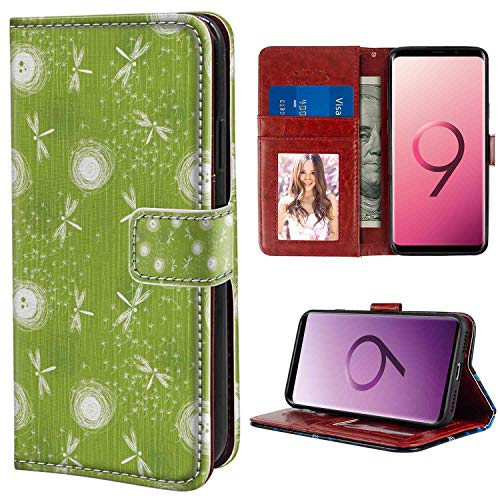 (Samsung Galaxy S9 Plus Wallet Case, Dragonfly Sketch Style Dandelion Flower Petals Spring Beauty Nature Blossom Image Lime Green Cream PU Leather Folio Case with Card Holder and ID Coin Slot)