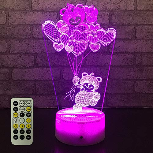 - FlyonSea Love Light,Love Night Light Kids 7 Colors Change Remote Control with Timer Optical Illusion Kids Lamp As a Gift Ideas for Boys or Girls (Love Bear)