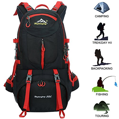 50L Hiking Backpack Outdoor Sports Daypack Multi-Functional Waterproof Rock Climbing Mountaineering Fishing Travel Cycling Camping Rucksack Unisex (Black) by WHYING