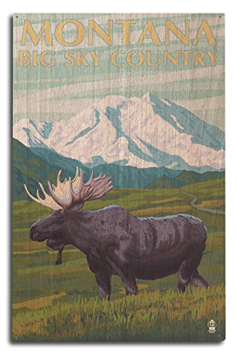 Montana Big Sky Country - Moose and Mountain (10x15 Wood Wall Sign, Wall Decor Ready to Hang) (Big Sky Country Collection)