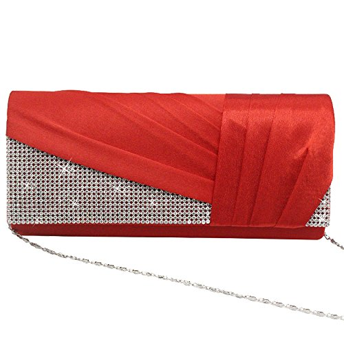 Bag Wiwsi Satin Diamante Red Handbag Elegant Blue Clutch Wedding Crystal Royal Purse Bridal BrB0qw