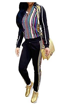b7c41762 Felivia Jacket and Pants Set for Women Casual - Long Sleeve Stripe Print  Zipper Front Hoodie