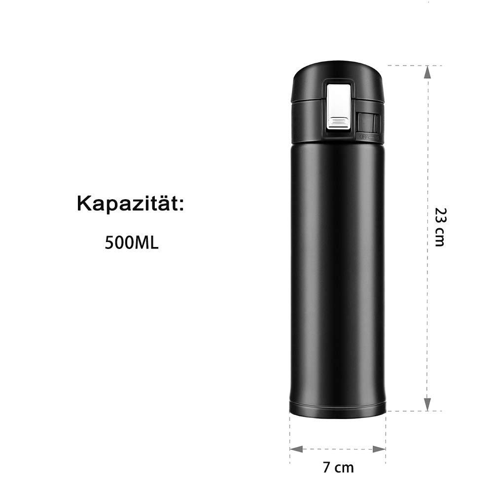 newdora 500 ml Acero Inoxidable Doble Pared aislado al vacío jarra térmica Viaje Oficina té taza de café botella termo jarra térmica: Amazon.es: Hogar