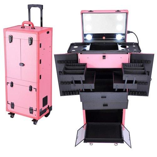 Pink Professional Makeup Hair Stylist Cosmetics Case w/ L...