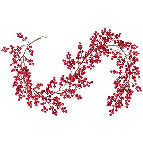 Artiflr Red Berry Garland, 6FT Flexible Artificial Red and Burgundy Berry Christmas Garland for Indoor Outdoor…