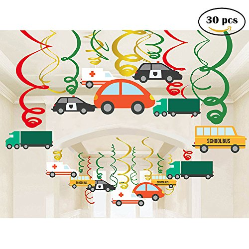 30Ct Colorful Transportations Cars Trucks Buses Hanging Swirl Home Decorations for Transportation Themed Birthday Party Supplies by Jiahai