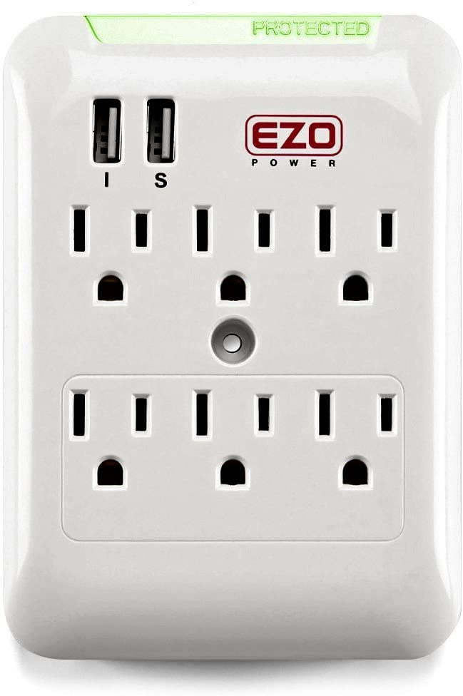 Wall-Mount Power Outlet Kasonic 6 AC Socket Surge Protector