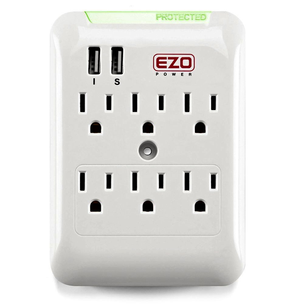 Wall Power Strip EZOPower 6 AC Outlet Mount Plate Surge Charge Protector with 2 USB Charger Ports 2.4A (UL Certified) by EZOPower (Image #1)
