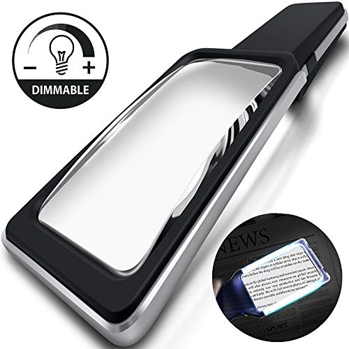 MagniPros 3X(300%) Magnifying Glass with [10 Anti-Glare & Dimmable LEDs]-Evenly Lit Viewing Area-The Brightest & Best Reading Magnifier for Small Prints, Low Vision Seniors, Macular ()